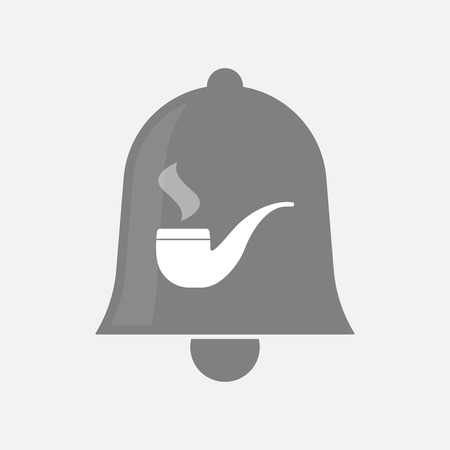pipe smoking: Illustration of an isolated bell icon with a smoking pipe
