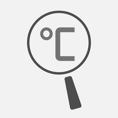 thermostat: Illustration of an isolated magnifier icon with  a celsius degree sign