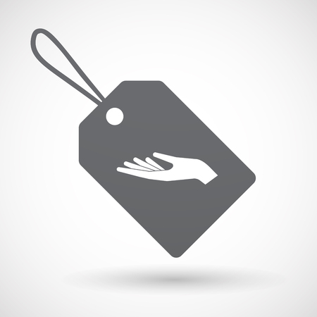 give and take: Illustration of an isolated label with a hand offering