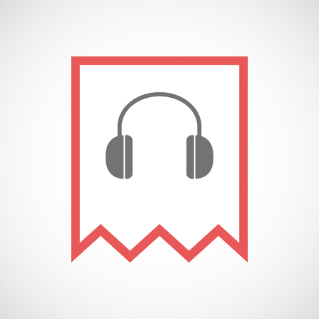 ear phones: Illustration of an isolated line art ribbon icon with a earphones