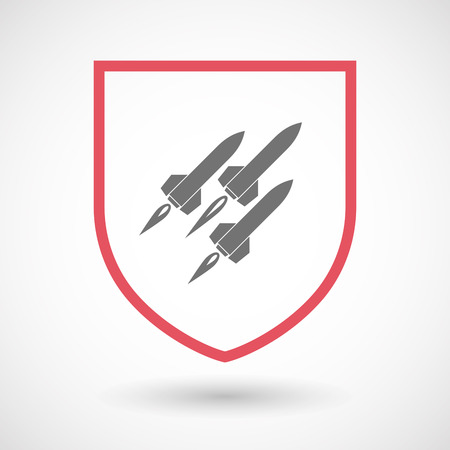 missiles: Illustration of an isolated line art  shield icon with missiles