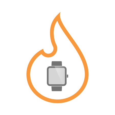 Illustration of an isolated line art flame icon with a smart watch Illustration