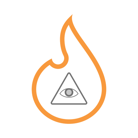 Illustration of an isolated line art flame icon with an all seeing eye