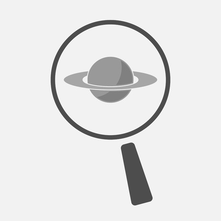 and saturn: Illustration of an isolated magnifier icon with the planet Saturn