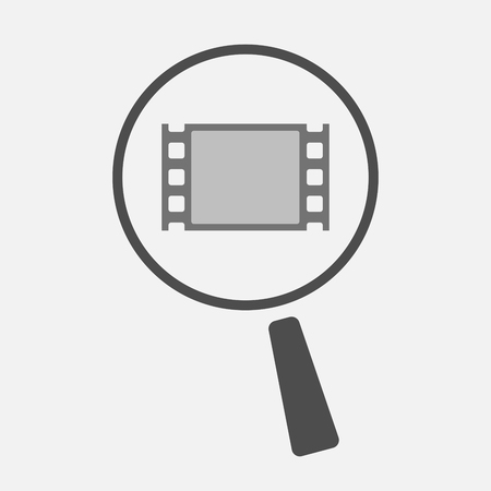 documentary: Illustration of an isolated magnifier icon with a film photogram Illustration