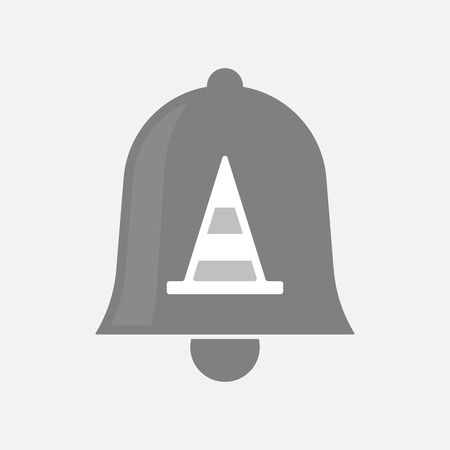 ring road: Illustration of an isolated bell icon with a road cone Illustration