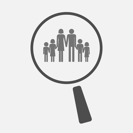 large family: Illustration of an isolated magnifier icon with a large family  pictogram Illustration