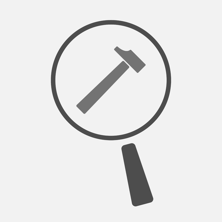 vision repair: Illustration of an isolated magnifier icon with a hammer