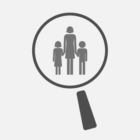 single parent: Illustration of an isolated magnifier icon with a female single parent family pictogram