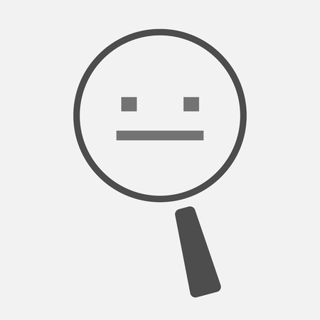 emotionless: Illustration of an isolated magnifier icon with a emotionless text face