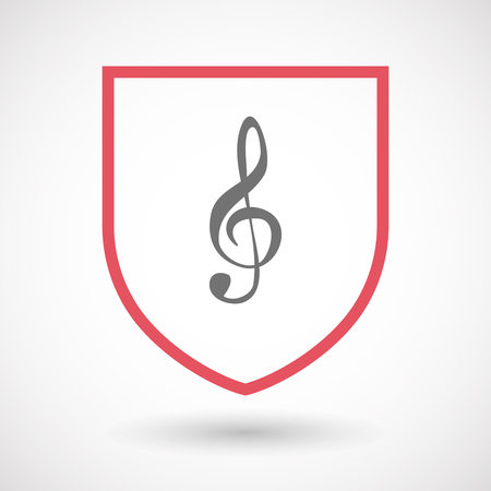 g clef: Illustration of an isolated line art  shield icon with a g clef Illustration
