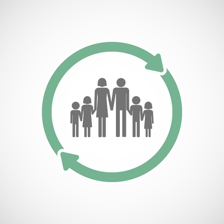 large family: Illustration of an isolated  reuse icon with a large family  pictogram