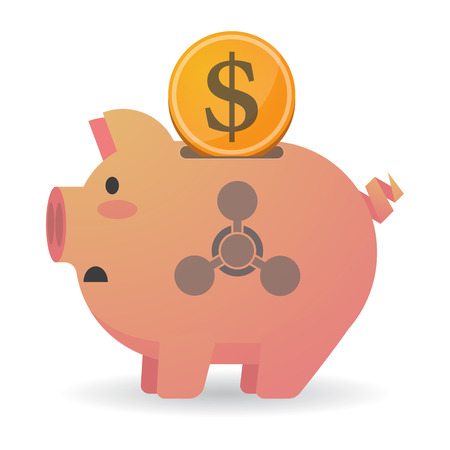 chemical weapon sign: Illustration of an isolated piggy bank icon with a chemical weapon sign Illustration