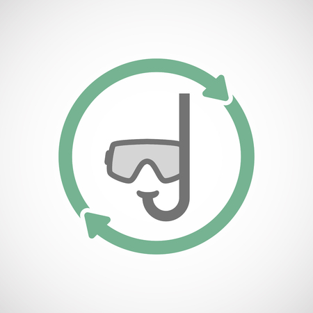 diving save: Illustration of an isolated  reuse icon with a diving goggles
