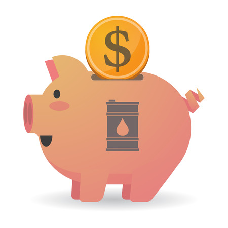 Illustration of an isolated piggy bank icon with a barrel of oil Illustration