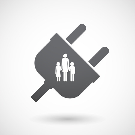 single parent family: Illustration of an isolated male plug with a female single parent family pictogram