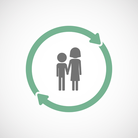 orphan: Illustration of an isolated  reuse icon with a childhood pictogram Illustration