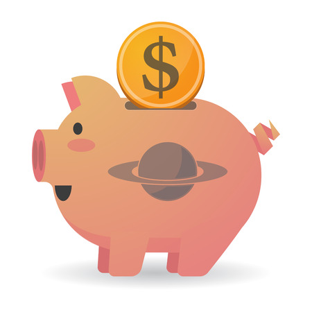 and saturn: Illustration of an isolated piggy bank icon with the planet Saturn