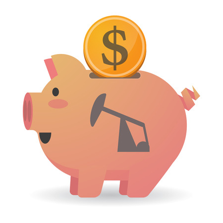 Illustration of an isolated piggy bank icon with a horsehead pump Illustration