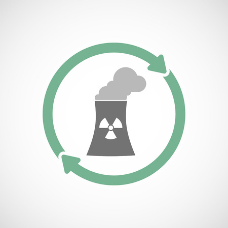 nuclear power station: Illustration of an isolated  reuse icon with a nuclear power station