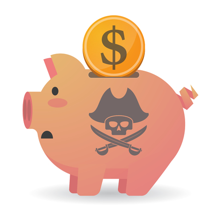 pig iron: Illustration of an isolated piggy bank icon with a pirate skull Illustration