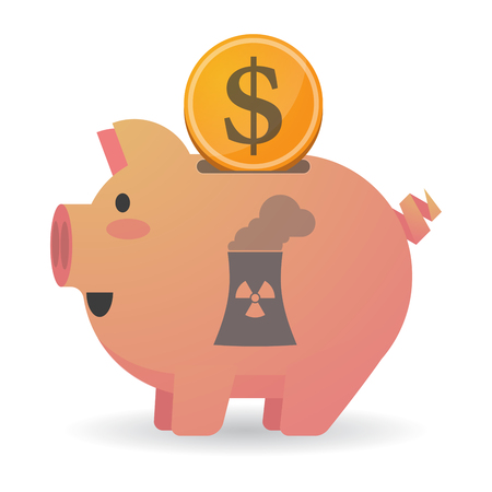 cooling tower: Illustration of an isolated piggy bank icon with a nuclear power station