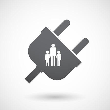 single parent family: Illustration of an isolated male plug with a male single parent family pictogram