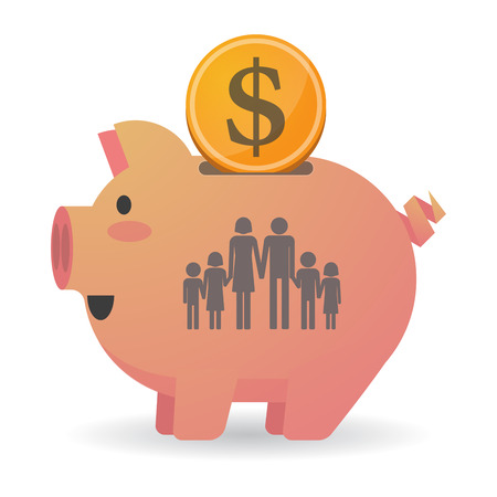 large family: Illustration of an isolated piggy bank icon with a large family  pictogram