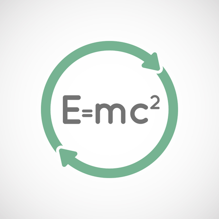 theory: Illustration of an isolated  reuse icon with the Theory of Relativity formula