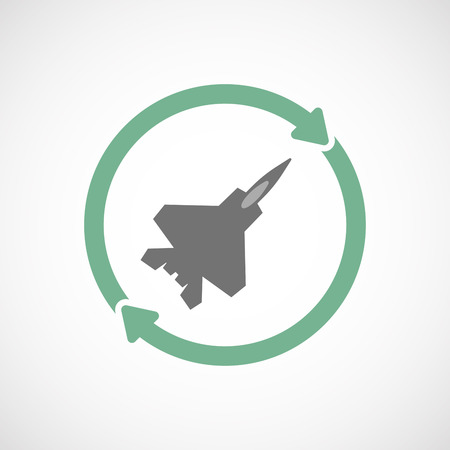 vehicle combat: Illustration of an isolated  reuse icon with a combat plane Illustration