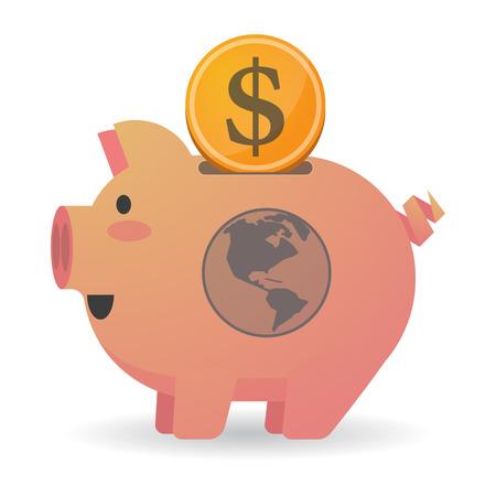 banco mundial: Ilustración de un icono de la hucha aislados con una región de América del globo del mundo