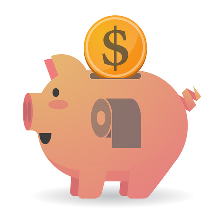 Illustration of an isolated piggy bank icon with a toilet paper roll Illustration