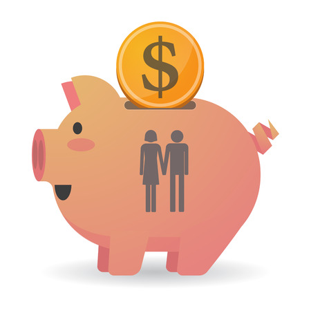 heterosexual: Illustration of an isolated piggy bank icon with a heterosexual couple pictogram