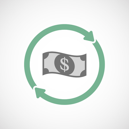 cash cycle: Illustration of an isolated  reuse icon with a dollar bank note