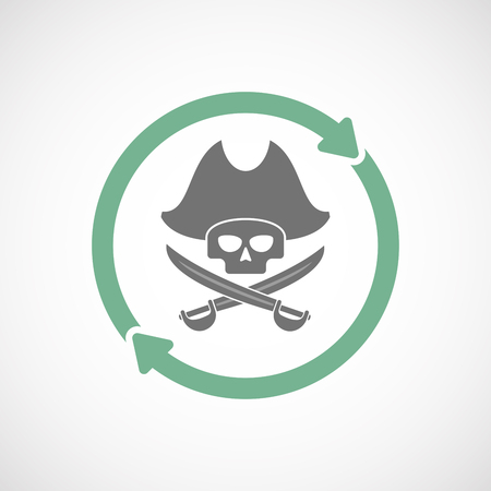 Illustration of an isolated  reuse icon with a pirate skull