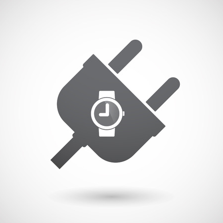 wrist: Illustration of an isolated male plug with a wrist watch