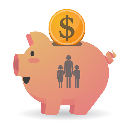 single parent: Illustration of an isolated piggy bank icon with a female single parent family pictogram Illustration