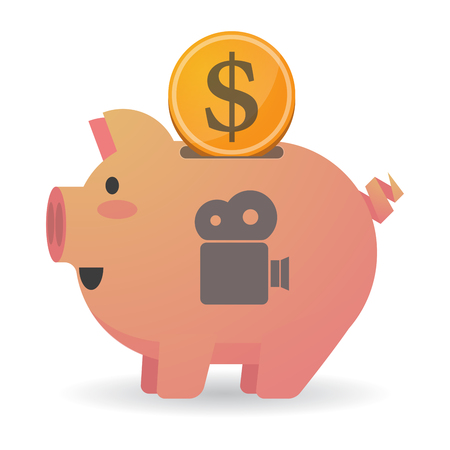 bank records: Illustration of an isolated piggy bank icon with a film camera