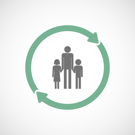 single family: Illustration of an isolated  reuse icon with a male single parent family pictogram