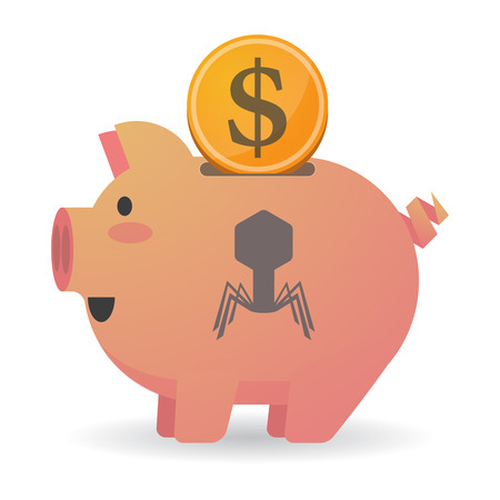Illustration of an isolated piggy bank icon with a virus