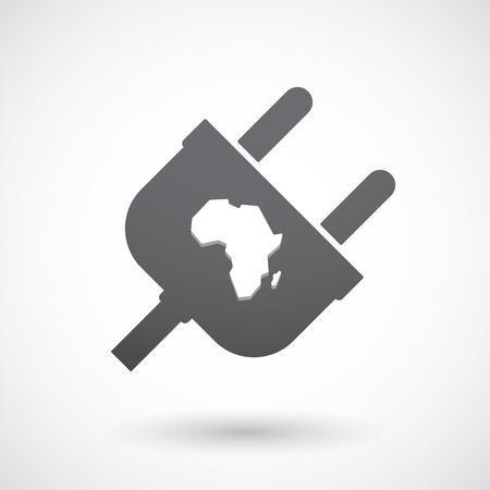 Ilustración de un enchufe macho aislado con un mapa del continente africano
