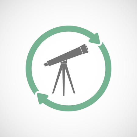Illustration of an isolated  reuse icon with a telescope Illustration