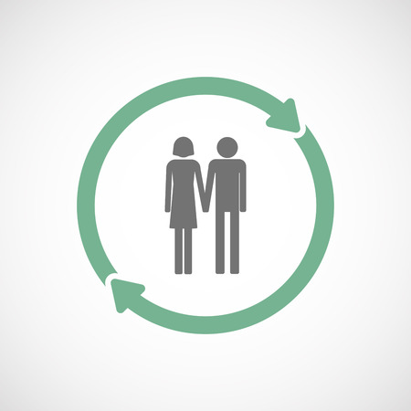 heterosexual: Illustration of an isolated  reuse icon with a heterosexual couple pictogram