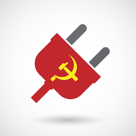 Illustration of an isolated male plug with  the communist symbol