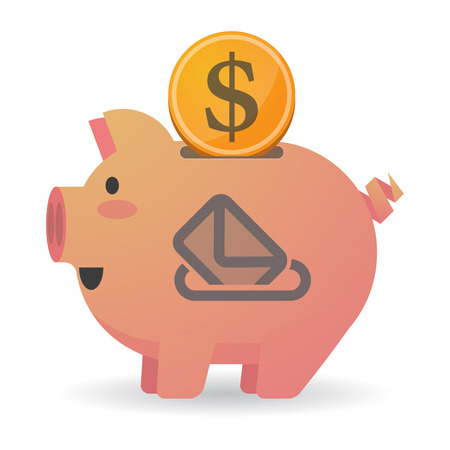 plebiscite: Illustration of an isolated piggy bank icon with  a ballot box