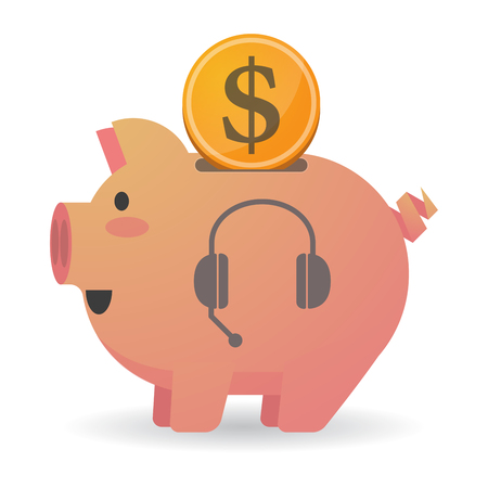 Illustration of an isolated piggy bank icon with  a hands free phone device Illustration