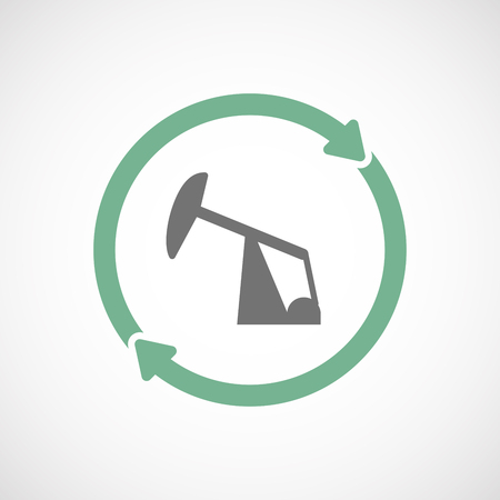 horsehead pump: Illustration of an isolated  reuse icon with a horsehead pump