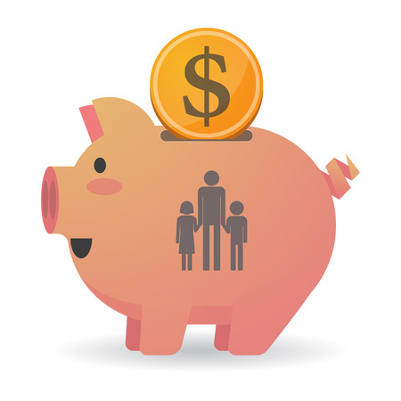 single parent family: Illustration of an isolated piggy bank icon with a male single parent family pictogram