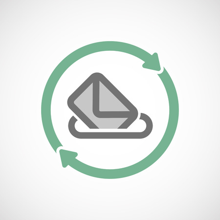 recycling campaign: Illustration of an isolated  reuse icon with  a ballot box