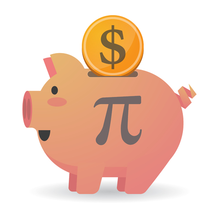 equation: Illustration of an isolated piggy bank icon with the number pi symbol